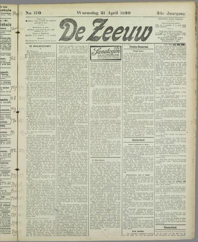 De Zeeuw. Christelijk-historisch nieuwsblad voor Zeeland 1920-04-21