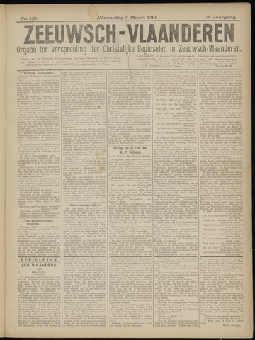 Luctor et Emergo. Antirevolutionair nieuws- en advertentieblad voor Zeeland / Zeeuwsch-Vlaanderen. Orgaan ter verspreiding van de christelijke beginselen in Zeeuwsch-Vlaanderen 1919-03-05