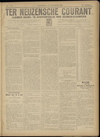 Ter Neuzensche Courant. Algemeen Nieuws- en Advertentieblad voor Zeeuwsch-Vlaanderen / Neuzensche Courant ... (idem) / (Algemeen) nieuws en advertentieblad voor Zeeuwsch-Vlaanderen 1931-08-19
