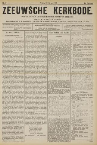 Zeeuwsche kerkbode, weekblad gewijd aan de belangen der gereformeerde kerken/ Zeeuwsch kerkblad 1940-02-16