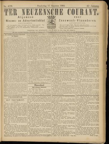 Ter Neuzensche Courant. Algemeen Nieuws- en Advertentieblad voor Zeeuwsch-Vlaanderen / Neuzensche Courant ... (idem) / (Algemeen) nieuws en advertentieblad voor Zeeuwsch-Vlaanderen 1905-08-17