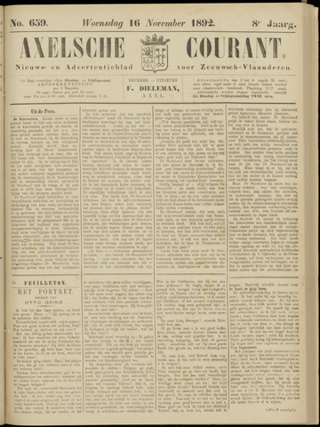 Axelsche Courant 1892-11-16