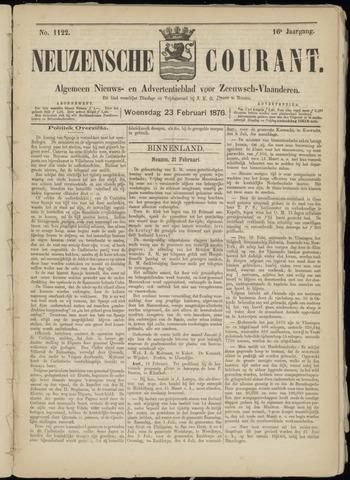 Ter Neuzensche Courant. Algemeen Nieuws- en Advertentieblad voor Zeeuwsch-Vlaanderen / Neuzensche Courant ... (idem) / (Algemeen) nieuws en advertentieblad voor Zeeuwsch-Vlaanderen 1876-02-23