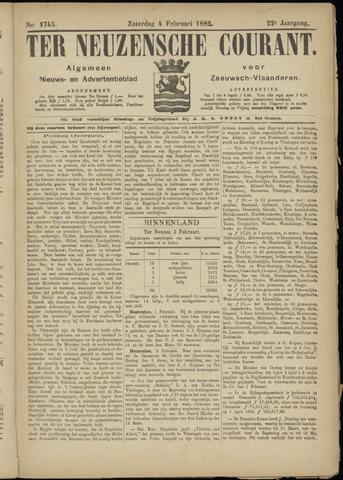 Ter Neuzensche Courant. Algemeen Nieuws- en Advertentieblad voor Zeeuwsch-Vlaanderen / Neuzensche Courant ... (idem) / (Algemeen) nieuws en advertentieblad voor Zeeuwsch-Vlaanderen 1882-02-04