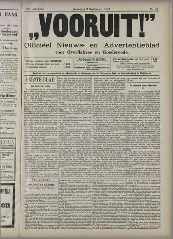 """""""Vooruit!""""Officieel Nieuws- en Advertentieblad voor Overflakkee en Goedereede 1913-09-03"""