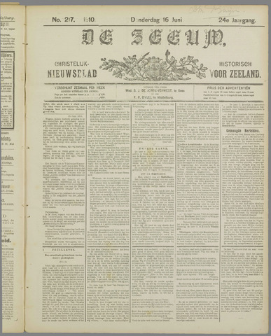 De Zeeuw. Christelijk-historisch nieuwsblad voor Zeeland 1910-06-16