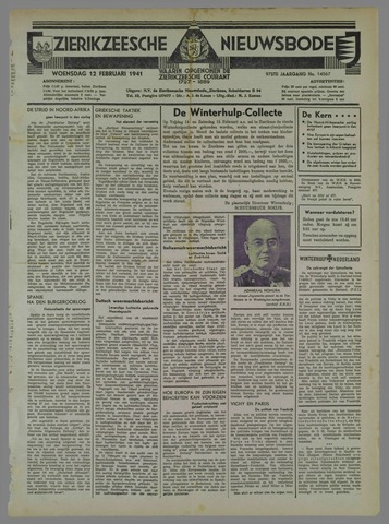 Zierikzeesche Nieuwsbode 1941-02-12