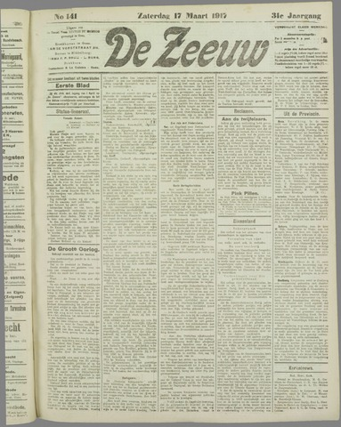 De Zeeuw. Christelijk-historisch nieuwsblad voor Zeeland 1917-03-17