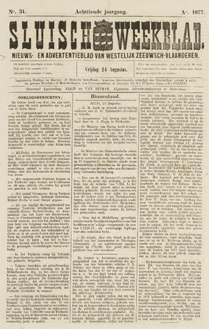 Sluisch Weekblad. Nieuws- en advertentieblad voor Westelijk Zeeuwsch-Vlaanderen 1877-08-24