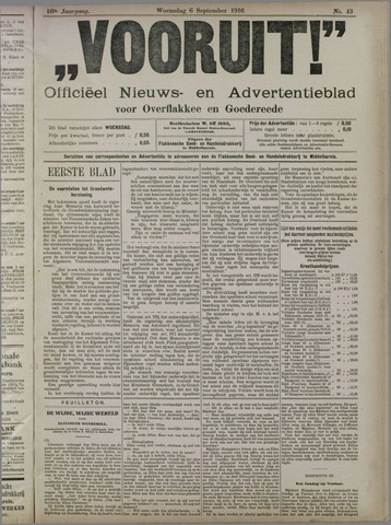 """""""Vooruit!""""Officieel Nieuws- en Advertentieblad voor Overflakkee en Goedereede 1916-09-06"""