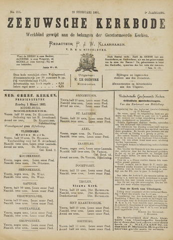 Zeeuwsche kerkbode, weekblad gewijd aan de belangen der gereformeerde kerken/ Zeeuwsch kerkblad 1891-02-28