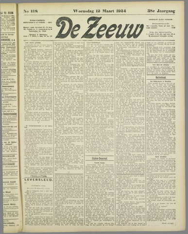 De Zeeuw. Christelijk-historisch nieuwsblad voor Zeeland 1924-03-12