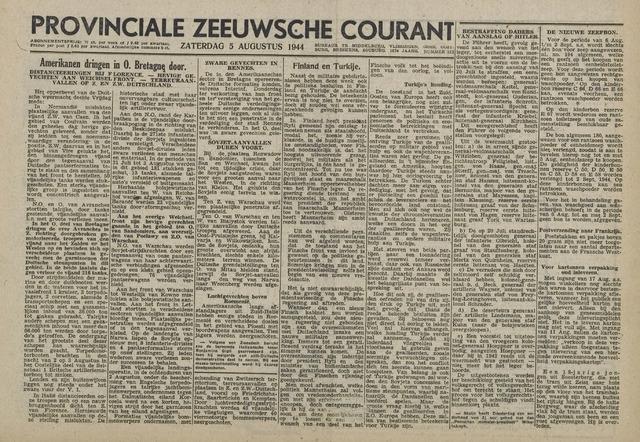Provinciale Zeeuwse Courant 1944-08-08