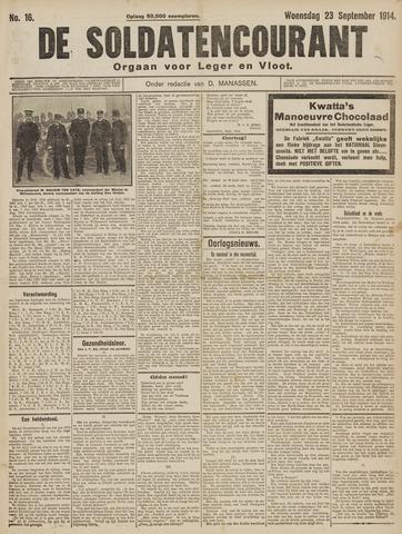 De Soldatencourant. Orgaan voor Leger en Vloot 1914-09-23