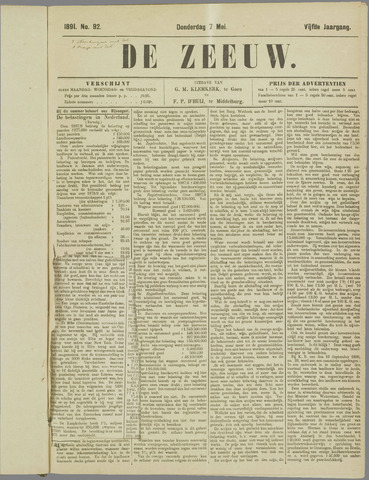 De Zeeuw. Christelijk-historisch nieuwsblad voor Zeeland 1891-05-07