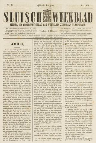 Sluisch Weekblad. Nieuws- en advertentieblad voor Westelijk Zeeuwsch-Vlaanderen 1874-10-09