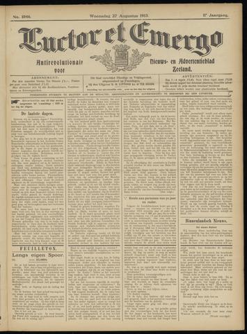 Luctor et Emergo. Antirevolutionair nieuws- en advertentieblad voor Zeeland / Zeeuwsch-Vlaanderen. Orgaan ter verspreiding van de christelijke beginselen in Zeeuwsch-Vlaanderen 1913-08-27