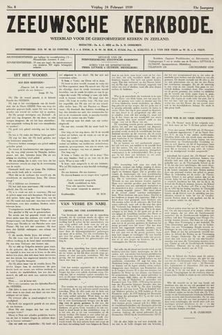 Zeeuwsche kerkbode, weekblad gewijd aan de belangen der gereformeerde kerken/ Zeeuwsch kerkblad 1939-02-24