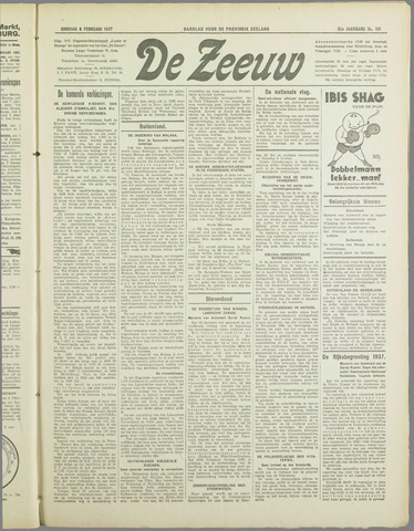 De Zeeuw. Christelijk-historisch nieuwsblad voor Zeeland 1937-02-09