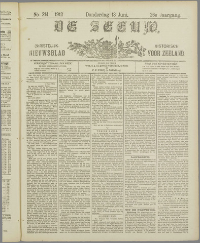 De Zeeuw. Christelijk-historisch nieuwsblad voor Zeeland 1912-06-13