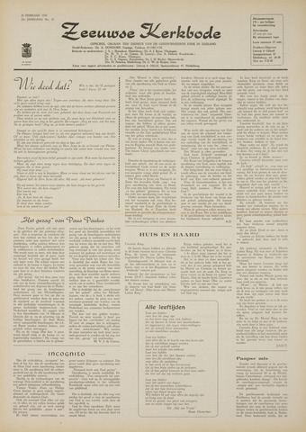 Zeeuwsche kerkbode, weekblad gewijd aan de belangen der gereformeerde kerken/ Zeeuwsch kerkblad 1970-02-26