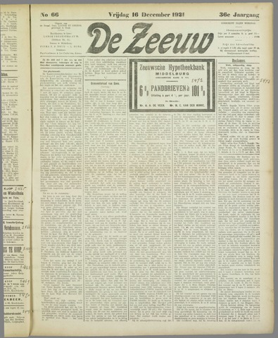 De Zeeuw. Christelijk-historisch nieuwsblad voor Zeeland 1921-12-16