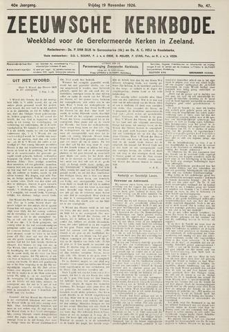 Zeeuwsche kerkbode, weekblad gewijd aan de belangen der gereformeerde kerken/ Zeeuwsch kerkblad 1926-11-19