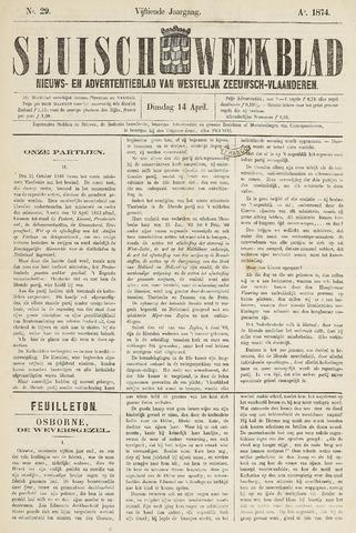 Sluisch Weekblad. Nieuws- en advertentieblad voor Westelijk Zeeuwsch-Vlaanderen 1874-04-14