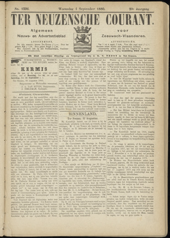 Ter Neuzensche Courant. Algemeen Nieuws- en Advertentieblad voor Zeeuwsch-Vlaanderen / Neuzensche Courant ... (idem) / (Algemeen) nieuws en advertentieblad voor Zeeuwsch-Vlaanderen 1880-09-01