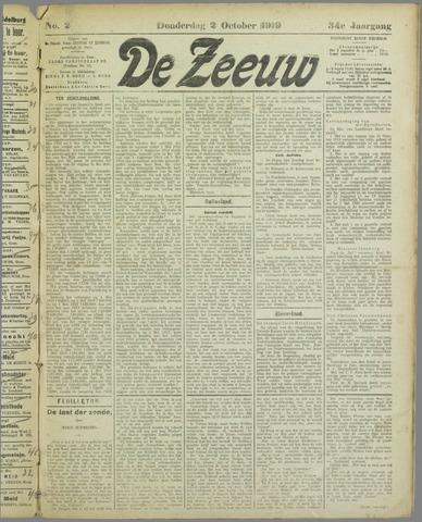 De Zeeuw. Christelijk-historisch nieuwsblad voor Zeeland 1919-10-02