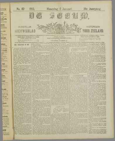 De Zeeuw. Christelijk-historisch nieuwsblad voor Zeeland 1912-01-08