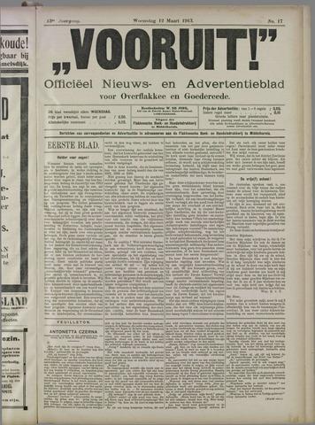 """""""Vooruit!""""Officieel Nieuws- en Advertentieblad voor Overflakkee en Goedereede 1913-03-12"""
