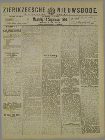 Zierikzeesche Nieuwsbode 1914-09-14