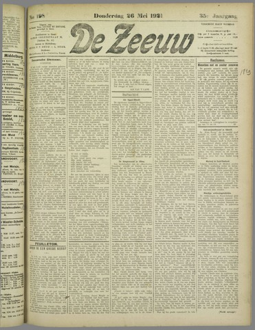 De Zeeuw. Christelijk-historisch nieuwsblad voor Zeeland 1921-05-26