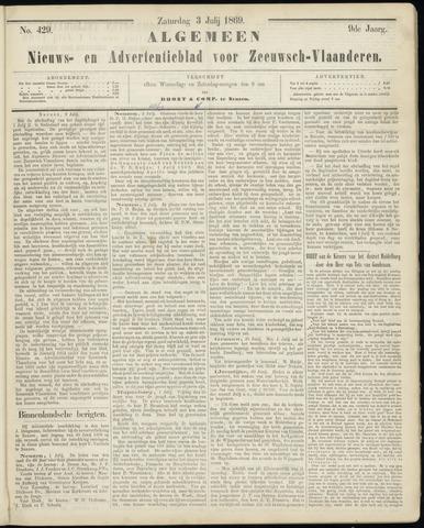 Ter Neuzensche Courant. Algemeen Nieuws- en Advertentieblad voor Zeeuwsch-Vlaanderen / Neuzensche Courant ... (idem) / (Algemeen) nieuws en advertentieblad voor Zeeuwsch-Vlaanderen 1869-07-03
