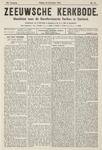 Zeeuwsche kerkbode, weekblad gewijd aan de belangen der gereformeerde kerken/ Zeeuwsch kerkblad 1925-11-20