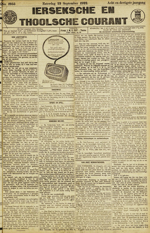 Ierseksche en Thoolsche Courant 1922-09-23