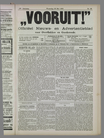 """""""Vooruit!""""Officieel Nieuws- en Advertentieblad voor Overflakkee en Goedereede 1913-05-28"""
