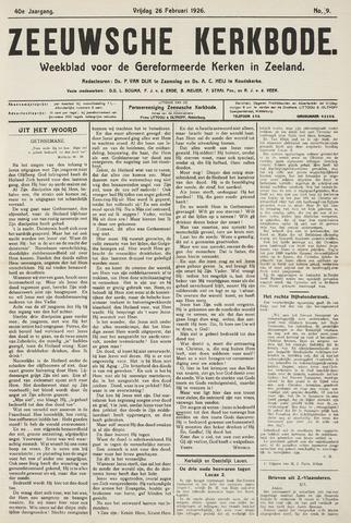 Zeeuwsche kerkbode, weekblad gewijd aan de belangen der gereformeerde kerken/ Zeeuwsch kerkblad 1926-02-26