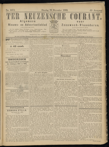 Ter Neuzensche Courant. Algemeen Nieuws- en Advertentieblad voor Zeeuwsch-Vlaanderen / Neuzensche Courant ... (idem) / (Algemeen) nieuws en advertentieblad voor Zeeuwsch-Vlaanderen 1903-12-29