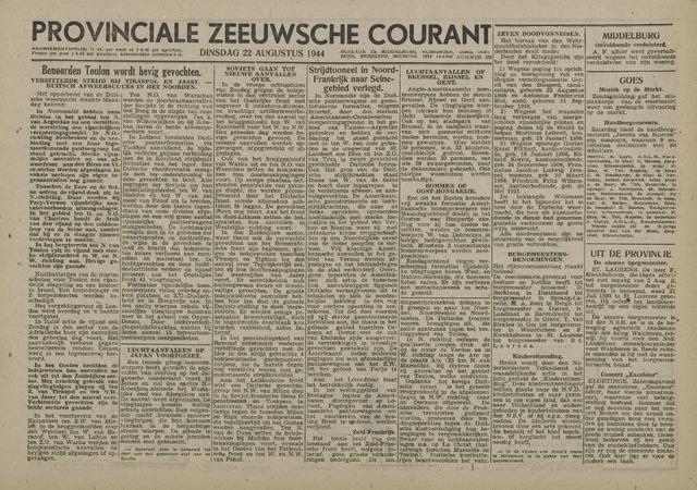 Provinciale Zeeuwse Courant 1944-08-22
