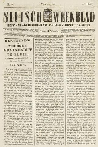 Sluisch Weekblad. Nieuws- en advertentieblad voor Westelijk Zeeuwsch-Vlaanderen 1864-11-11