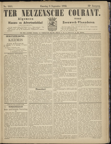 Ter Neuzensche Courant. Algemeen Nieuws- en Advertentieblad voor Zeeuwsch-Vlaanderen / Neuzensche Courant ... (idem) / (Algemeen) nieuws en advertentieblad voor Zeeuwsch-Vlaanderen 1883-09-08