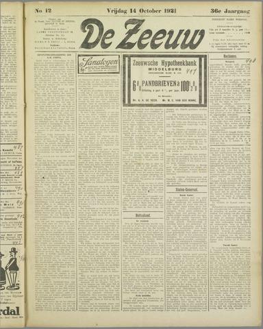 De Zeeuw. Christelijk-historisch nieuwsblad voor Zeeland 1921-10-14