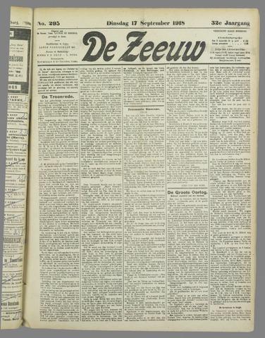 De Zeeuw. Christelijk-historisch nieuwsblad voor Zeeland 1918-09-17