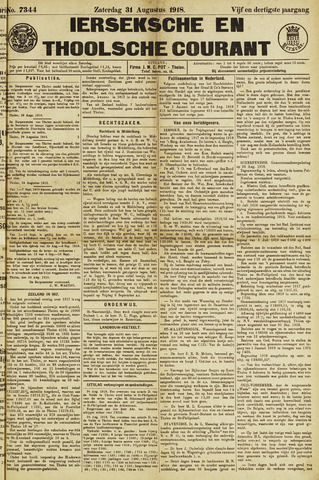 Ierseksche en Thoolsche Courant 1918-08-31