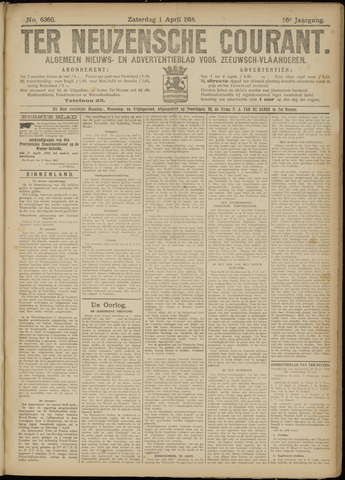 Ter Neuzensche Courant. Algemeen Nieuws- en Advertentieblad voor Zeeuwsch-Vlaanderen / Neuzensche Courant ... (idem) / (Algemeen) nieuws en advertentieblad voor Zeeuwsch-Vlaanderen 1916-04-01