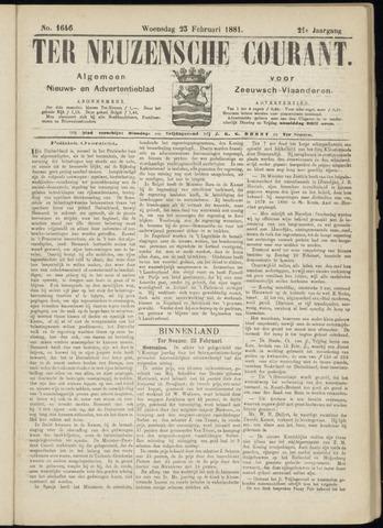 Ter Neuzensche Courant. Algemeen Nieuws- en Advertentieblad voor Zeeuwsch-Vlaanderen / Neuzensche Courant ... (idem) / (Algemeen) nieuws en advertentieblad voor Zeeuwsch-Vlaanderen 1881-02-23