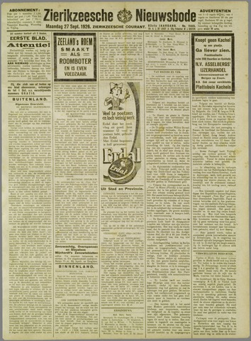 Zierikzeesche Nieuwsbode 1926-09-27