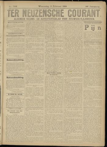 Ter Neuzensche Courant. Algemeen Nieuws- en Advertentieblad voor Zeeuwsch-Vlaanderen / Neuzensche Courant ... (idem) / (Algemeen) nieuws en advertentieblad voor Zeeuwsch-Vlaanderen 1924-02-13